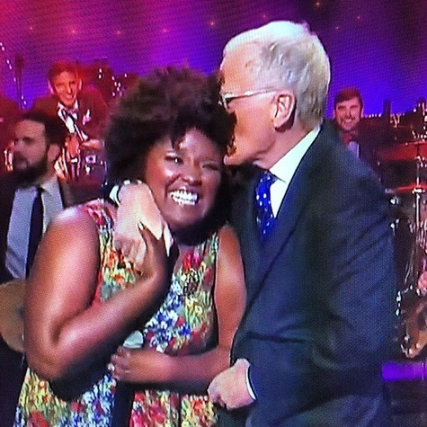 Kam Franklin of The Suffers with David Letterman