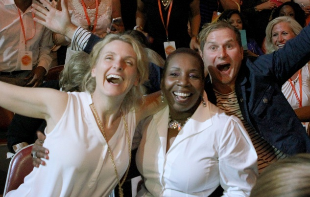 Elizabeth Gilbert, Iyanla Vanzant and Rob Bell at the Toyota Center on October 18, 2014 for Oprah Winfrey weekend