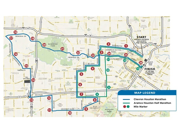 Houston Marathon Map New Houston Marathon route is flatter, faster and more scenic
