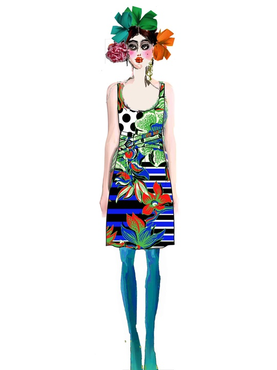 Fashion Week spring 2015 sketch Sept. 2014 Desigual sketch by Monsieur Christian Lacroix