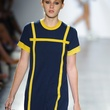 Isabella Rose Taylor spring 2015 collection blue dress with yellow piping