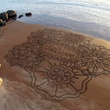 Sand art on beach