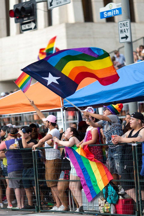 Houston Pride Parade 2016 flag waving