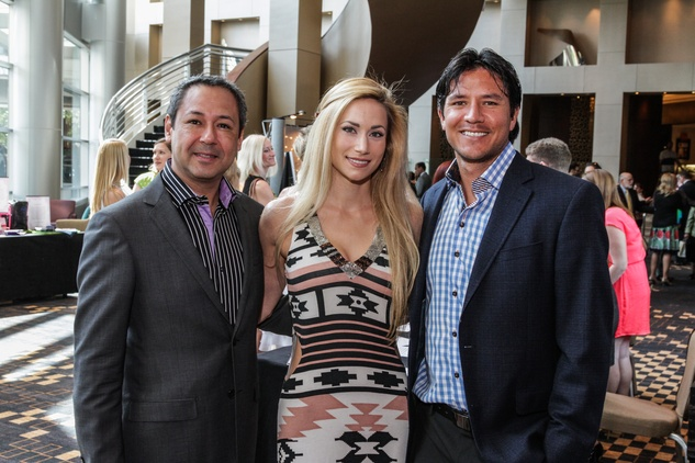 Hector Villarreal, from left, Elizabeth Eklund and Brian Ching at Boys & Girls Harbor luncheon April 2014