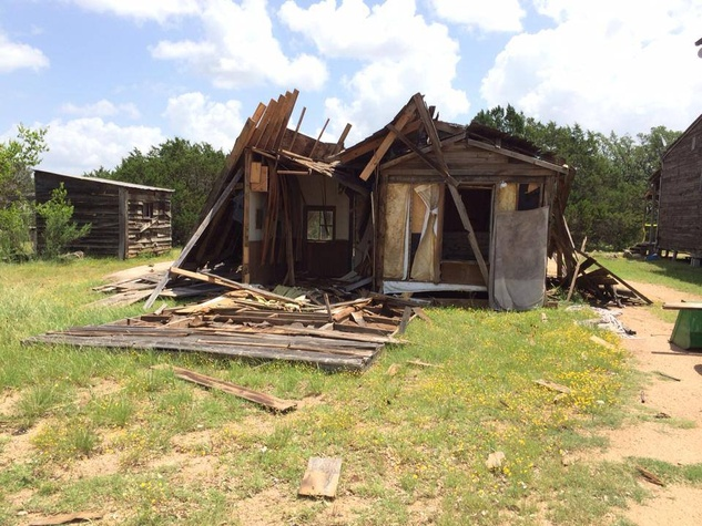 ruins of bank from Willie Nelson's ranch Luck, TX after storm