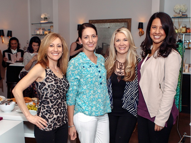 4 Dena Winkler, jfrom left, Shannah Quinn, Misti Pace-Krahl and Anika Jackson at the Julie Rhodes Fashion & Home Nonoo trunk show for Houston Children Give Back January 2014