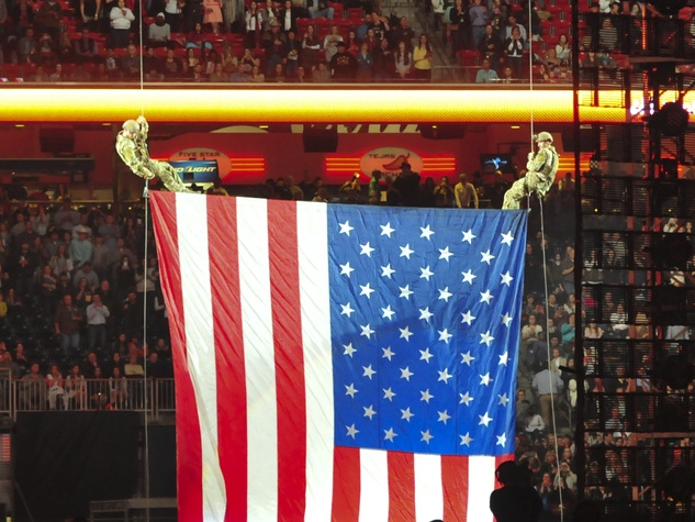 Eli Young Band, flag, at Houston rodeo March 2014