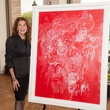 Roberta Harris with her art, Hello Sweetheart at the Jung Center dinner April 2014