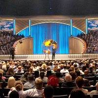 Joel Osteen preaching at Lakewood Church before huge crowd
