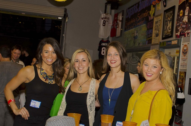 2 Ashley Smart, from left, Nicole Serrano, Hannah Weir and Sydney Scotton at the Bear Bryant Awards young professionals party October 2014