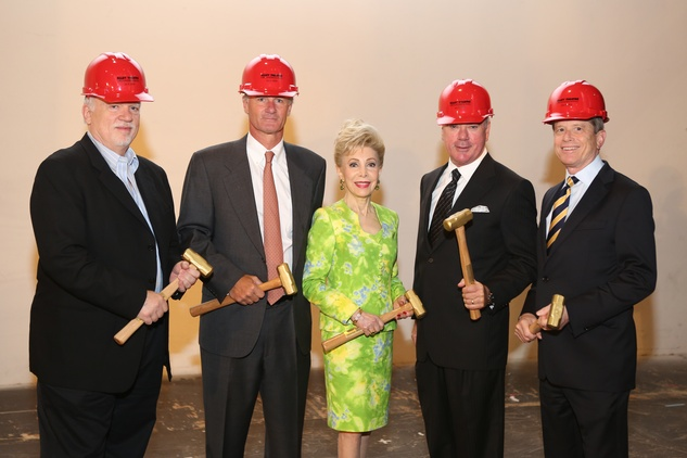 13 Gregory Boyd, from left, Roger Plank,  Margaret Alkek Williams, Jesse Marion and Dean Gladden at the Alley Theatre groundbreaking luncheon July 2014
