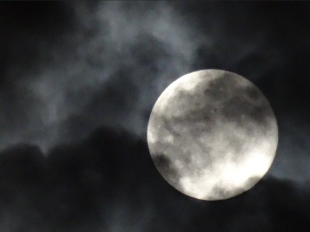 The Supermoon on a cloudy night in Houston. August 2014
