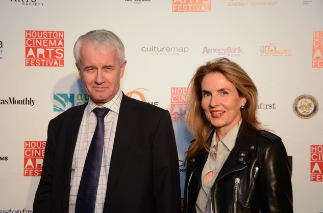 John Cheesmond and Celina Hellmund at the Houston Cinema Arts Festival opening night party November 2013