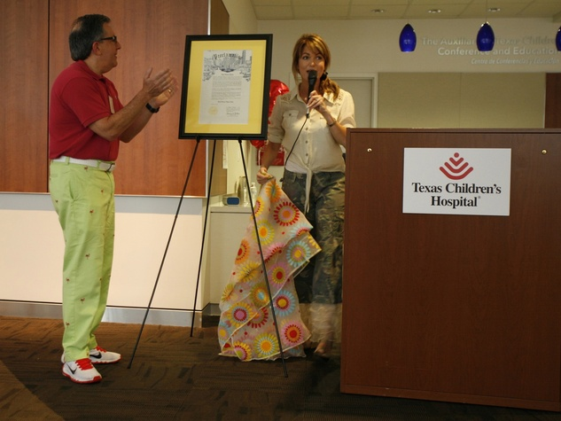 Melissa Wilson and Les Fox at Bad Pants Open kickoff party at Texas Children's Hospital