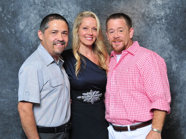 Bruce Padilla, from left, Melissa Ewards and Shelby Kibodeaux at Alex Martinez's birthday party July 2014