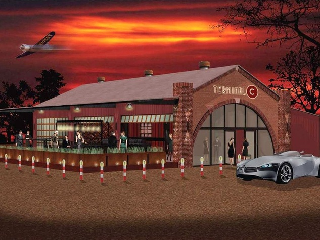 De Gaulle bar exterior night rendering