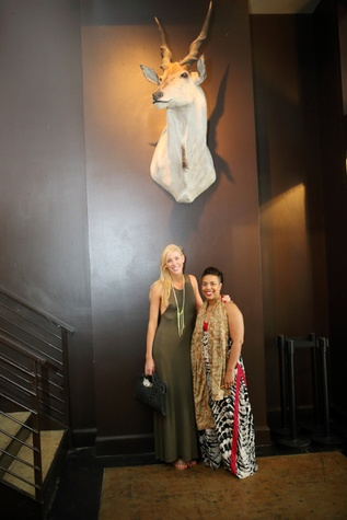 Lindsey George, left, and Nyala Wright at the Springbok restaurant kick-off party July 2014