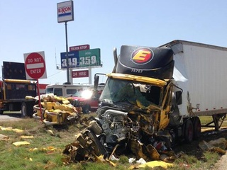 An 18-wheeler carrying hazardous chemicals crashed near Corsicana on June 20
