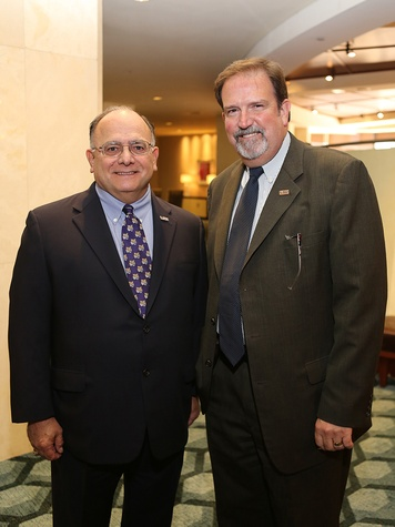 Clarence Cazalot, left, and Jeff McLain at the LSU Foundation luncheon June 2014