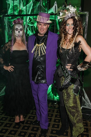 30 Sarah Manstan, from left, Dave Laurie and Stephanie Quisenberry at The Patroleum Club Halloween party November 2014