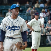 Chadwick Boseman as Jackie Robinson in the movie 42