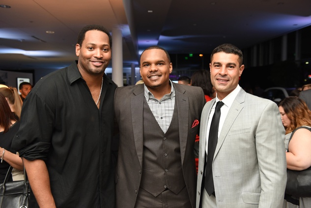 News, Shelby, BMW West grand opening, June 2015, -Robert Horry, Chester Pitts, Omar Alaou