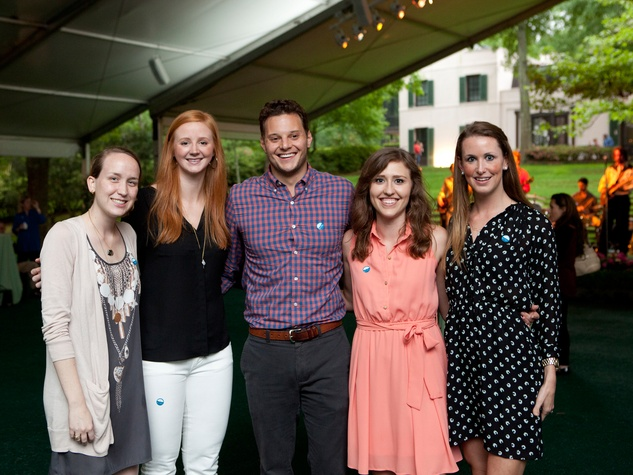 Katie Eisterhold, from left, Lucy Allara, Hudson Hoosier, Ashley Garner and Bailey Coe at Bayou Bend's Bubbly on the Bend April 2014