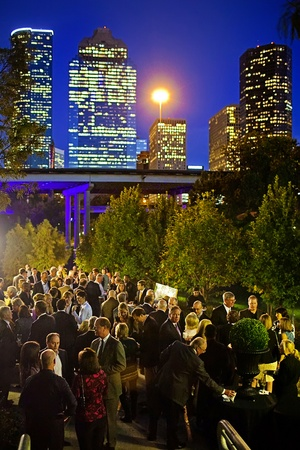 Buffalo Bayou Partnership Gala, November 2012, guests along Sabine Promenade, skyline