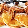 Max's Wine Dive Houson Southern-fried chicken wings cornbread griddle cakes with maple syrup