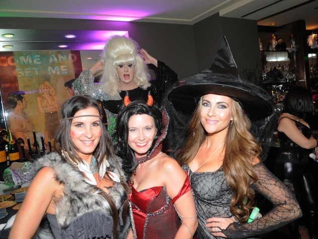 4 Cary Tito, from left, Sheila Ybarra and Kelly Gurevich at Hotel ZaZa's Halloween party October 2013