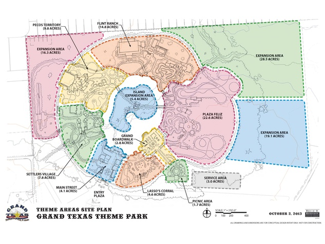 Grand Texas theme areas site plan