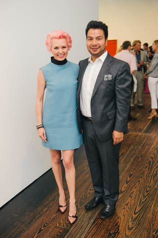 Vivian Wise and Sergio Morales at the Charles James exhibit preview party at the Menil June 2014