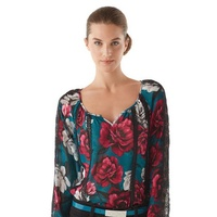 white house black market FLORAL/LACE BOHO BLOUSE