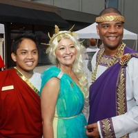 Chairs Justin Concepcion, from left, Cindy Rodriguez and Leslie Jackson at toga party at Craft Salon benefiting Bering Omega