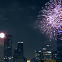 moon, fireworks, Houston, skyline