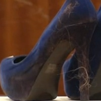 stiletto heel murder blue suede stiletto shoes with hair April 2014