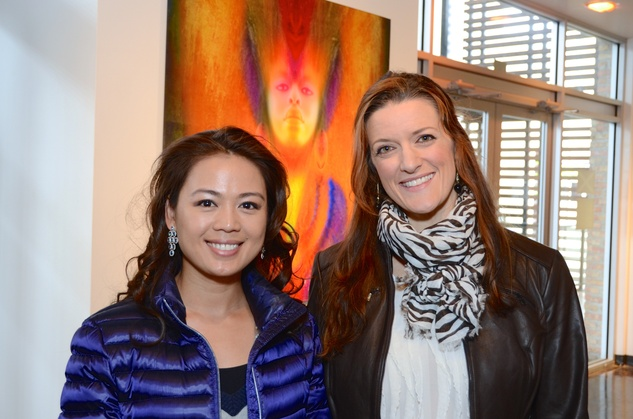 "Mia Pham, left, and Jessica Brown at the Valvisions Foundation ""Cinema, Canvas & Cuisine"" March 2015"