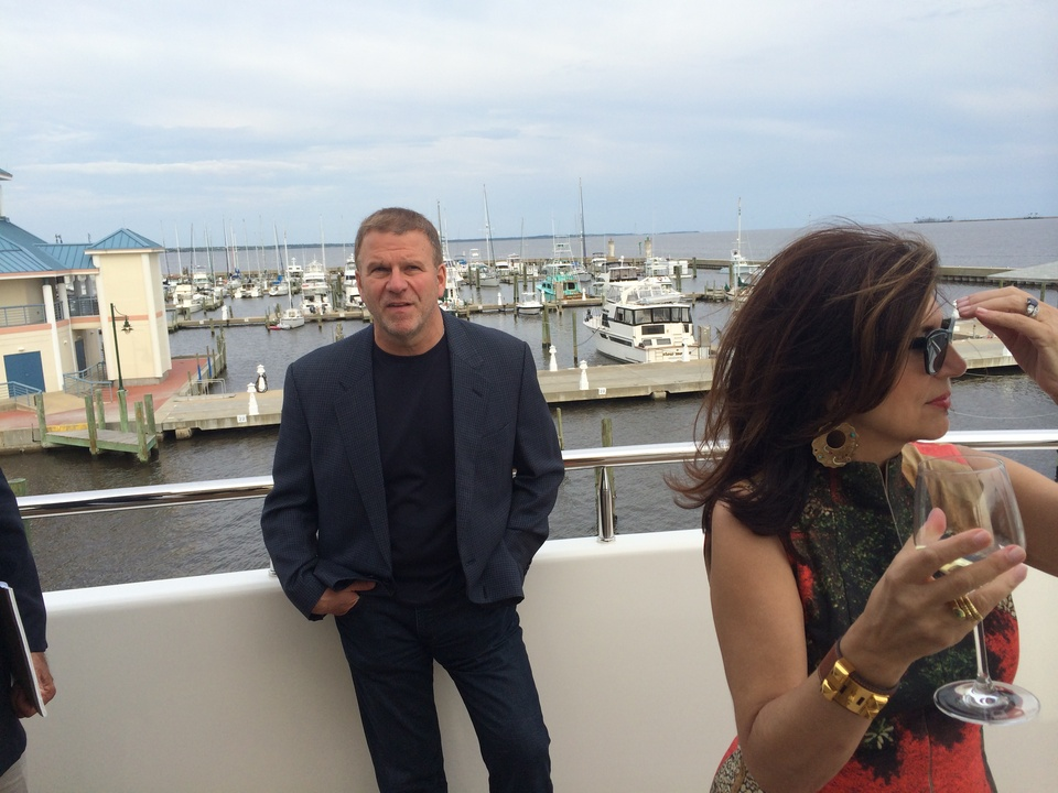 Tilman Fertitta and Dancie Ware on his yacht in Biloxi May 2014