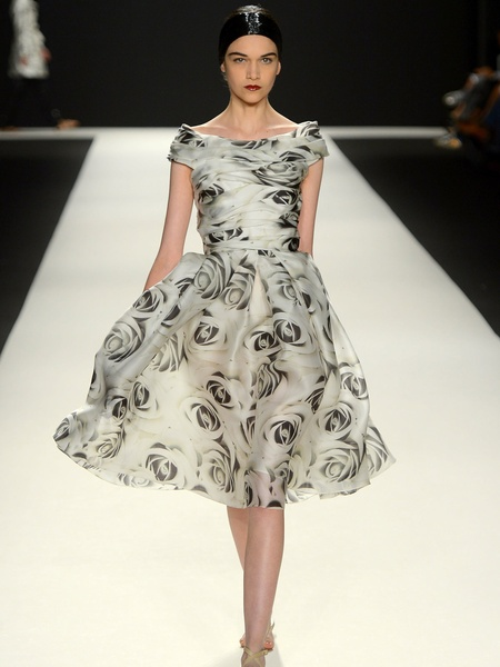 Clifford, Fashion Week spring 2013, Tuesday, Sept. 11, 2012, Naeem Khan, black-and-white floral dress
