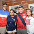 Alan Villanueva, from left, Monica Flores, Juan Suarez and Kelly Rivas at the World Cup Watch Party with Dynamo players at Local Pour June 2014