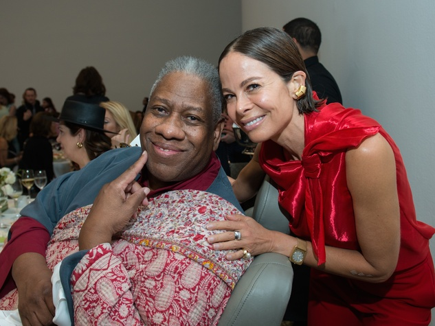 Andre Leon Talley, Allison Sarofim at Oscar de la Renta fashion show at MFAH