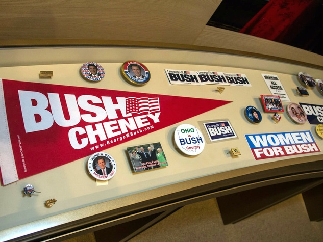 Campaign memorabilia at George W. Bush Presidential Center in Dallas