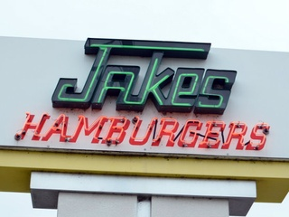 Jakes Hamburgers sign
