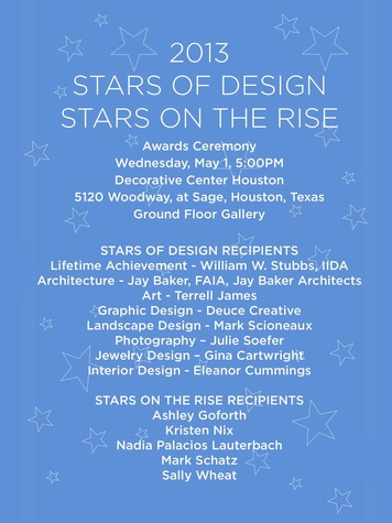 Decorative Center Houston Stars of Design and Stars on the Rise award winner April 2013