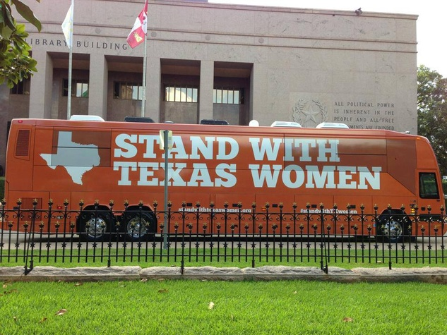 Stand with Texas Women Tour Bus