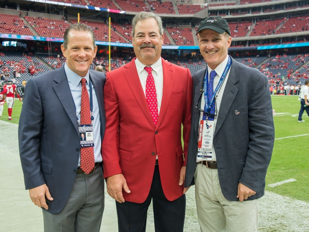 9 Jamey Rootes, from left, Cal McNair and David Crane at the Texans vs. Eagles sideline party November 2014
