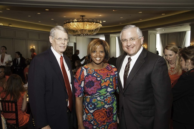Robert Trainer Jr., from left, Myra Robinson and Randy Walker at the Go Red For Women luncheon May 2014