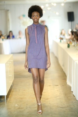 Model on the runway at the David Peck spring summer 2015 fashion show March 2015