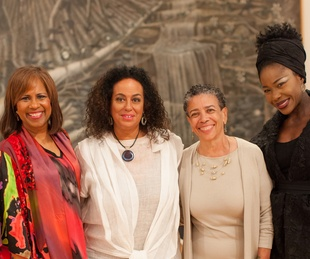 259 Melanie Lawson, from left, Toni Whitaker, Alvia Wardlaw and Elizabeth Anyaa at For the Sake of Art June 2014