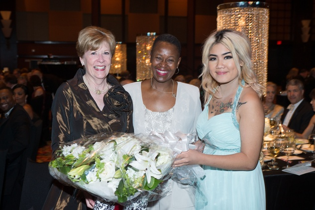 Peggy Roe, from left, Ronda Robinson and An Lee at the Covenant House Gala April 201